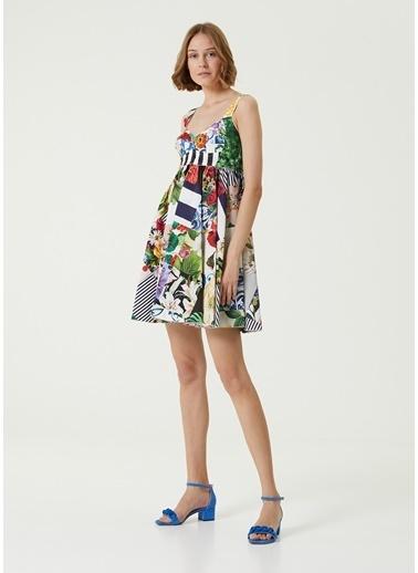 Dolce&Gabbana Dolce&Gabbana Kalp Yaka Patchwork Desenli Mini Poplin Elbise 101618975 Beyaz